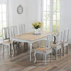 seville grey painted distressed dining table with 6 chairs