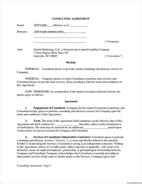 consultant agreement template consulting contract template free template ideas