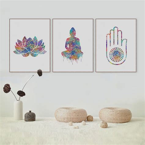 original home decor original watercolor buddha portrait zen a4 large art