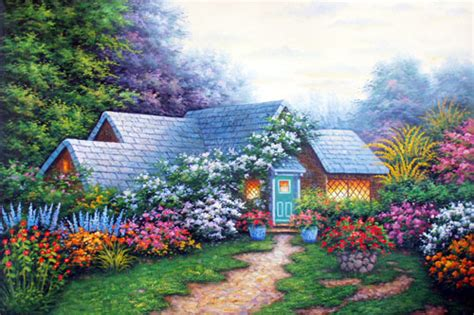 Summer Cottage Summer Cottage In The Paintings On Canvas