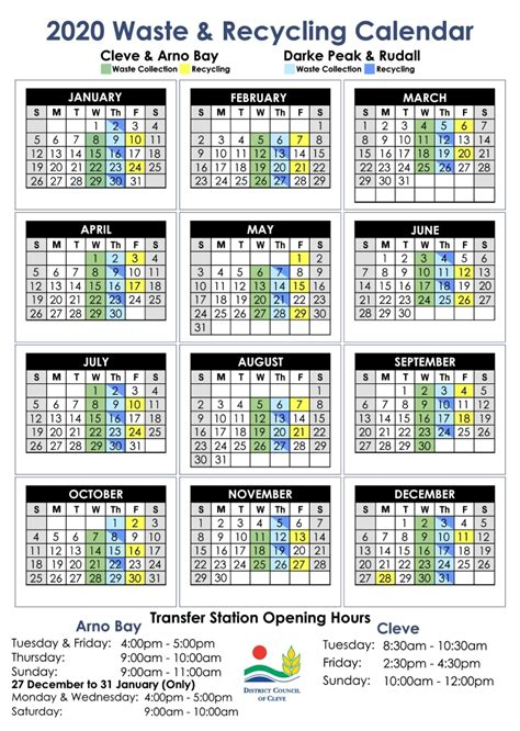 waste recycling calendar cleve district council