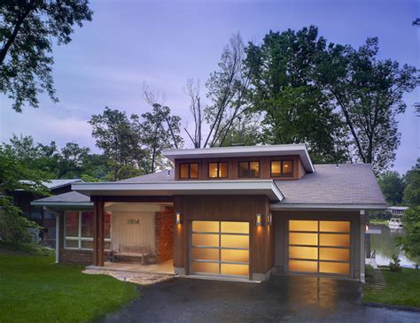 mid century modern home mid century modern lake house modern exterior dc metro by coupard architects and builders