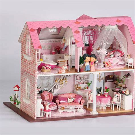 dolls house for children hot sale large diy wood 3d model dollhouses assembled kids toys doll house creative