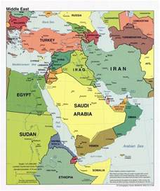 detailed political map of the middle east with major