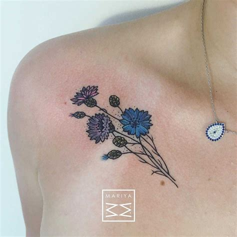 collarbone tattoos flower tattoos on collar bone ink blue