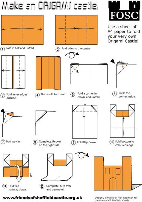 How To Make A Origami Castle - fold your own castle friends of sheffield castle