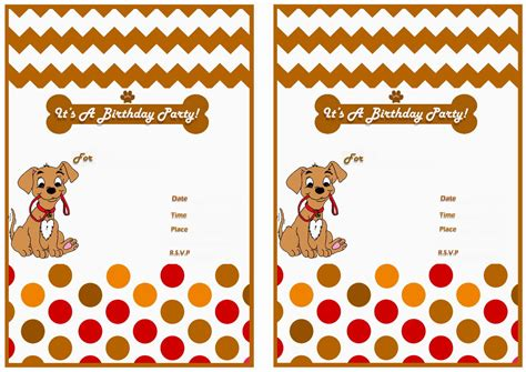 printable dog invitation dog lovers birthday invitations birthday printable