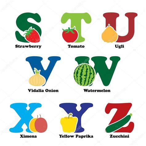 fruity v alfabeto de fruta y verdura vector de stock 169 artisticco
