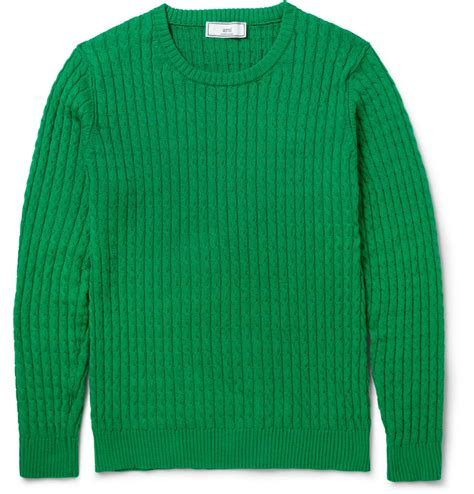 green knit sweater lyst ami cable knit cotton sweater in green for