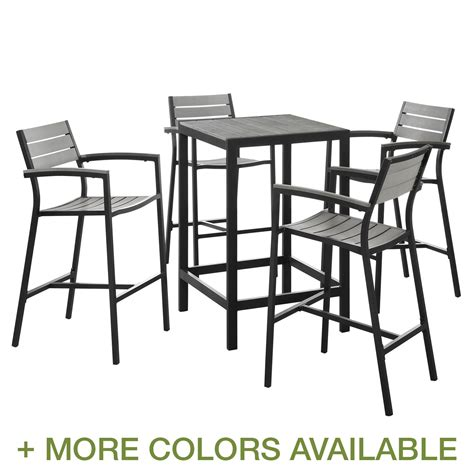 Outdoor Bar Table Set Modway Maine 5 Outdoor Patio Bar Table Set Free Shipping