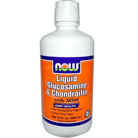 food with glucosamine now foods liquid glucosamine chondroitin with msm citrus 32 fl oz 946 ml