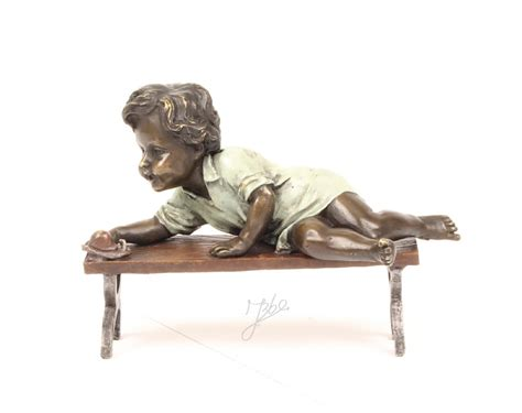 bronze bench bronze child on a bench hand polished 12 6cm luxury pure
