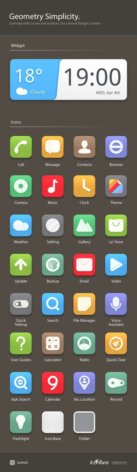 designspiration android 联想手机主题设计 geometry si ヅ游客帝国小ccミ采集到app 183 系列图标 338图 花瓣ui
