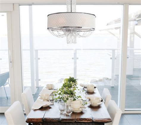 Allure Crystal Chandelier With Silk Drum Shade Dining Room Drum Light