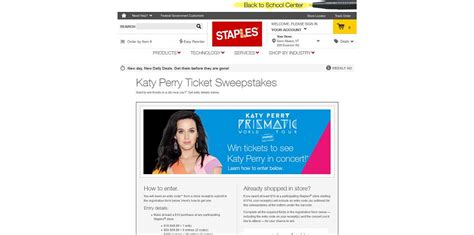 Katy Perry Sweepstakes - staples katy perry ticket sweepstakes at staples com katytickets