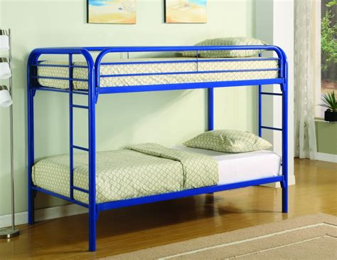 blue bunk bed save big on bearcat twin over twin metal bunk bed blue