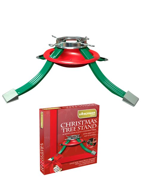 christmas tree stand red green metal adjustable water dish