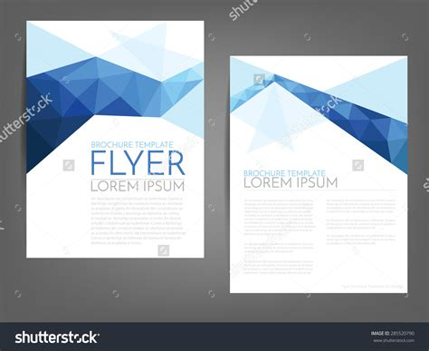flyers template blue polygonal line brochure template flyer background