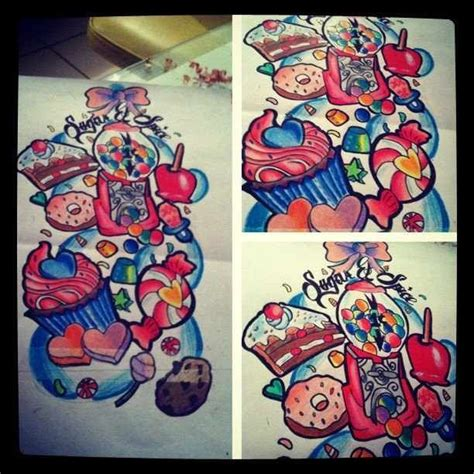 candy sleeve tattoo tatts pinterest sleeve tattoos