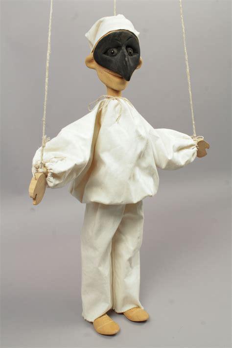 Handmade Marionette - vintage mid 20c italian masked pulcinella handmade wooden