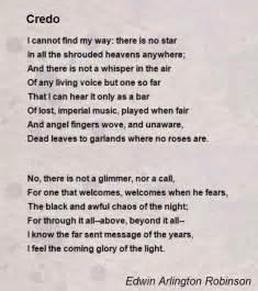 credo poem by edwin arlington robinson poem hunter