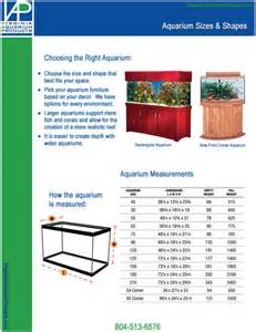 fish tank sizes standard tank sizes litres and