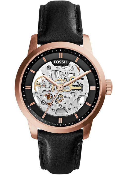 Fossil M1157 Rosegold Black Leather fossil townsman automatic gold black leather me3084 watches