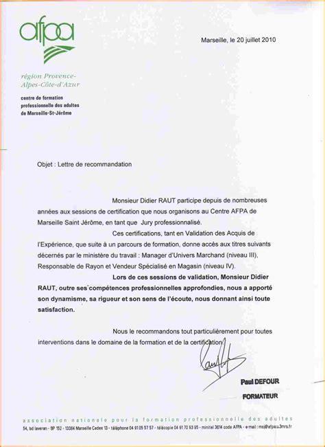 Lettre De Recommandation Pour Infirmiere modele lettre de motivation pour formation afpa