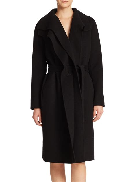 draped coats vince draped wool blend coat in black lyst