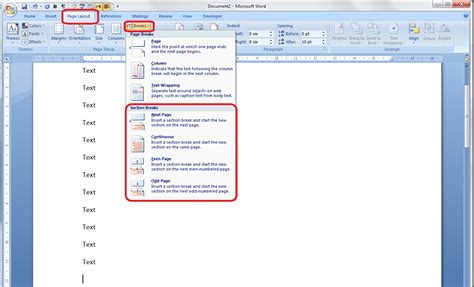 word 2007 insert section break how to insert a page break into excel 2013 how to create