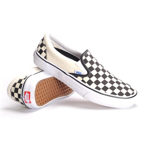vans slip on pro checkerboard black white s skate shoes