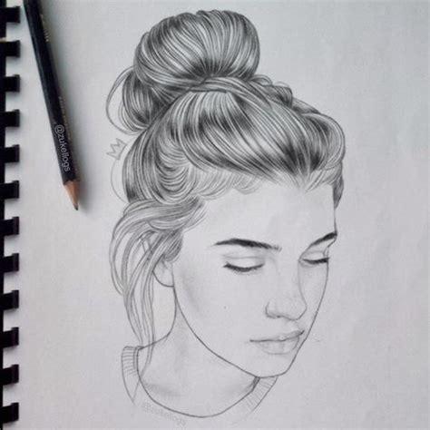 bun hairstyles drawing drawn long hair hair bun pencil and in color drawn long