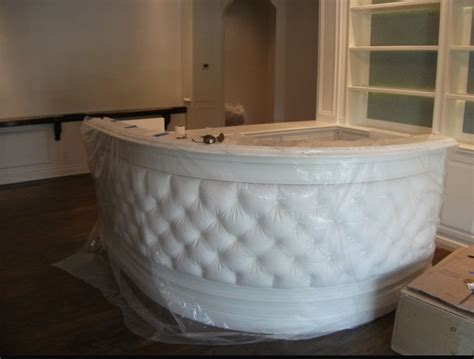 tufted salon reception desk remodel of hair salon traditional entry miami by