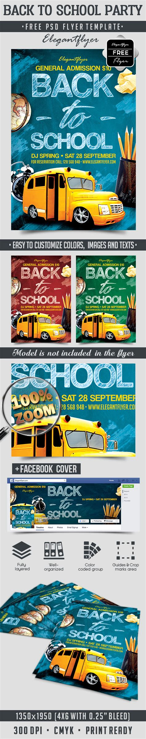 Back To School Party Free Flyer Psd Template By Elegantflyer Free School Flyer Templates