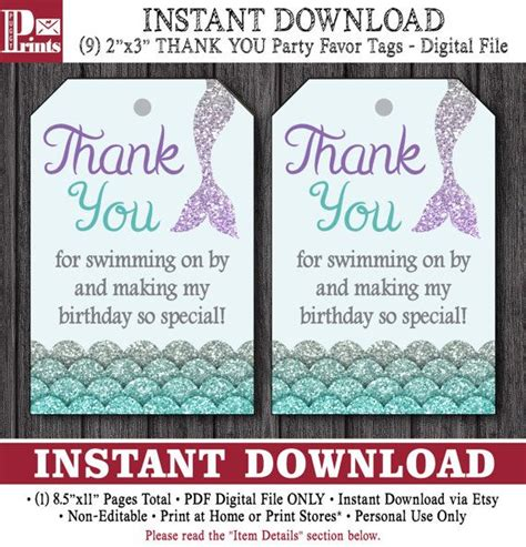 Thank You Card Template For Birthday Giveaways by 17 Beste Idee 235 N Zeemeerminnen Feestartikelen Op