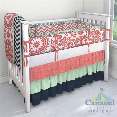 coral and navy crib bedding custom nursery bedding carousels fabrics and simple bed