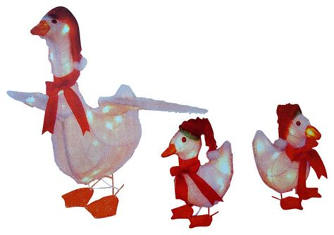 3 piece goose family lighted christmas yard art set