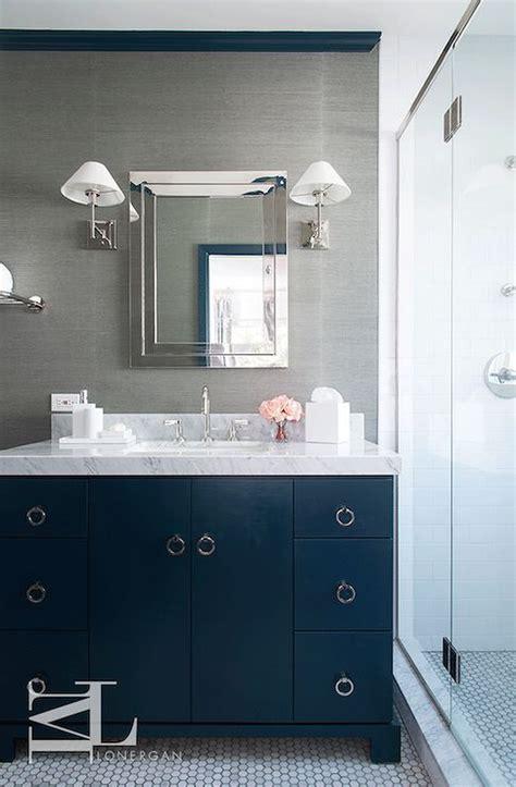 navy blue  gray bathroom features walls clad  grey