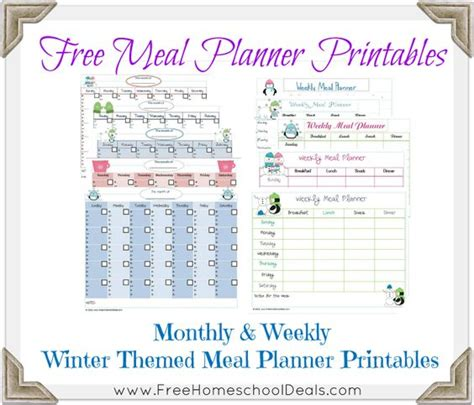 pretty printable meal planner easy homeschool meals archives monthly meal planner so