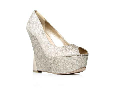 Hippy Peep Toe Heels By Kurt Geiger by Carvela Kurt Geiger Wedge Peep Toe Glitter Shoes In Gold