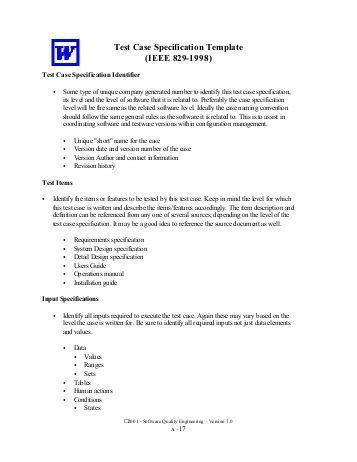 ieee 829 test strategy template software test plan stp template items that are intended
