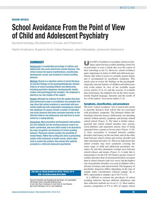 The Academic Point Of View by School Avoidance From The Point Of View Of Child And