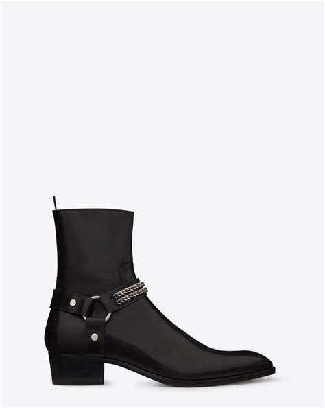 ysl boots laurent classic wyatt chain harness boot in black
