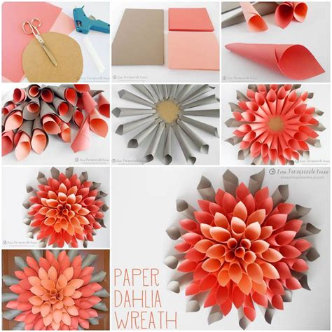 Paper Flower Craft Ideas - creative ideas diy beautiful paper dahlia wreath