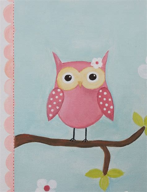 Baby Owl Decorations For Baby Shower by Pink Owl Decor Acrylic Painting Baby Shower Decoration