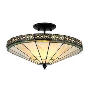 flush mount stained glass ceiling light warehouse of tc16b306iv 2 light style semi