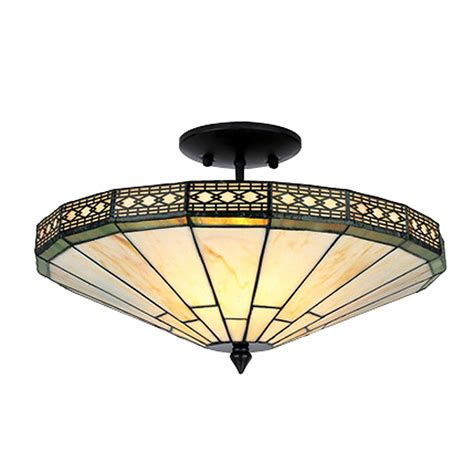 Warehouse Of Tiffany Tc16b306iv 2 Light Style Ann Semi Stained Glass Flush Mount Ceiling Light