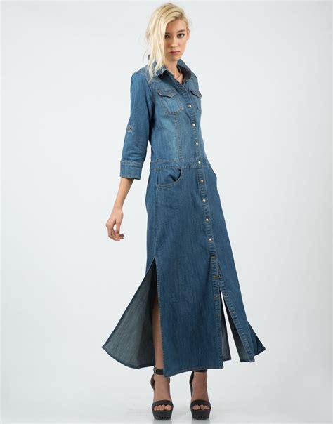 Denima Maxy Dress trendy denim maxi dress fashion for