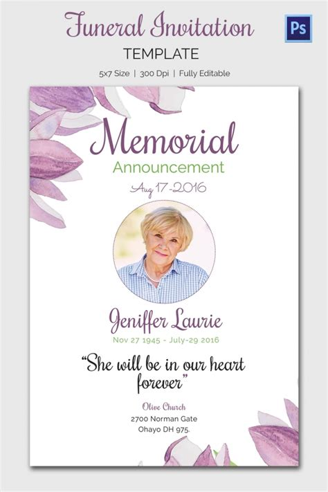 Memorial Invitation Templates Free Templates Resume Exles Jry49n6abe Funeral Announcement Template