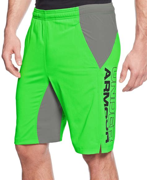 Original Armour Hiit Woven Combat Green armour s hiit woven performance shorts in green for lyst